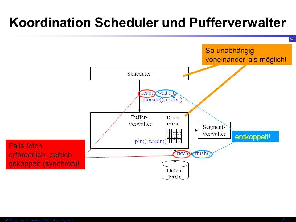 34 © 2009 Univ,Karlsruhe, IPD, Prof. LockemannDBI 3 Koordination Scheduler und Pufferverwalter Scheduler Puffer- Verwalter Daten- basis d4d4 d 43 d 17