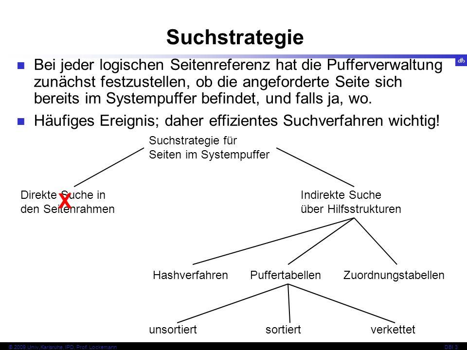 42 © 2009 Univ,Karlsruhe, IPD, Prof. LockemannDBI 3 Suchstrategie Bei jeder logischen Seitenreferenz hat die Pufferverwaltung zunächst festzustellen,