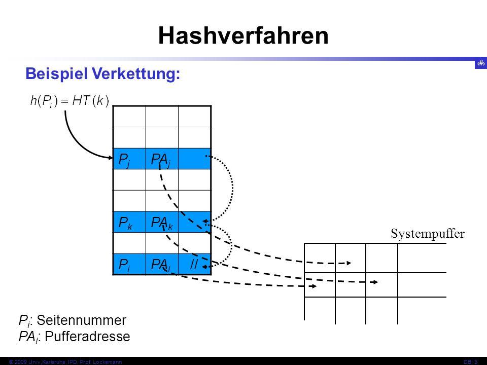 44 © 2009 Univ,Karlsruhe, IPD, Prof. LockemannDBI 3 Hashverfahren P i : Seitennummer PA i : Pufferadresse Systempuffer Beispiel Verkettung: PjPj PA j