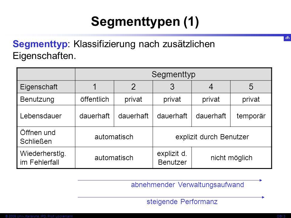 5 © 2009 Univ,Karlsruhe, IPD, Prof. LockemannDBI 3 Segmenttypen (1) Segmenttyp: Klassifizierung nach zusätzlichen Eigenschaften. Segmenttyp Eigenschaf