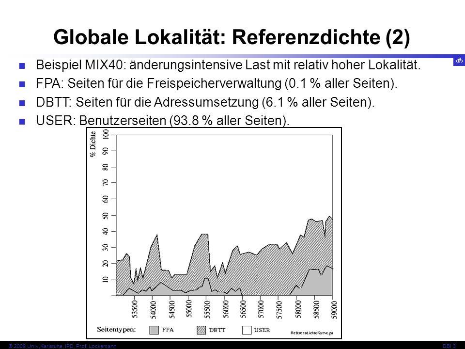 53 © 2009 Univ,Karlsruhe, IPD, Prof. LockemannDBI 3 Globale Lokalität: Referenzdichte (2) Beispiel MIX40: änderungsintensive Last mit relativ hoher Lo