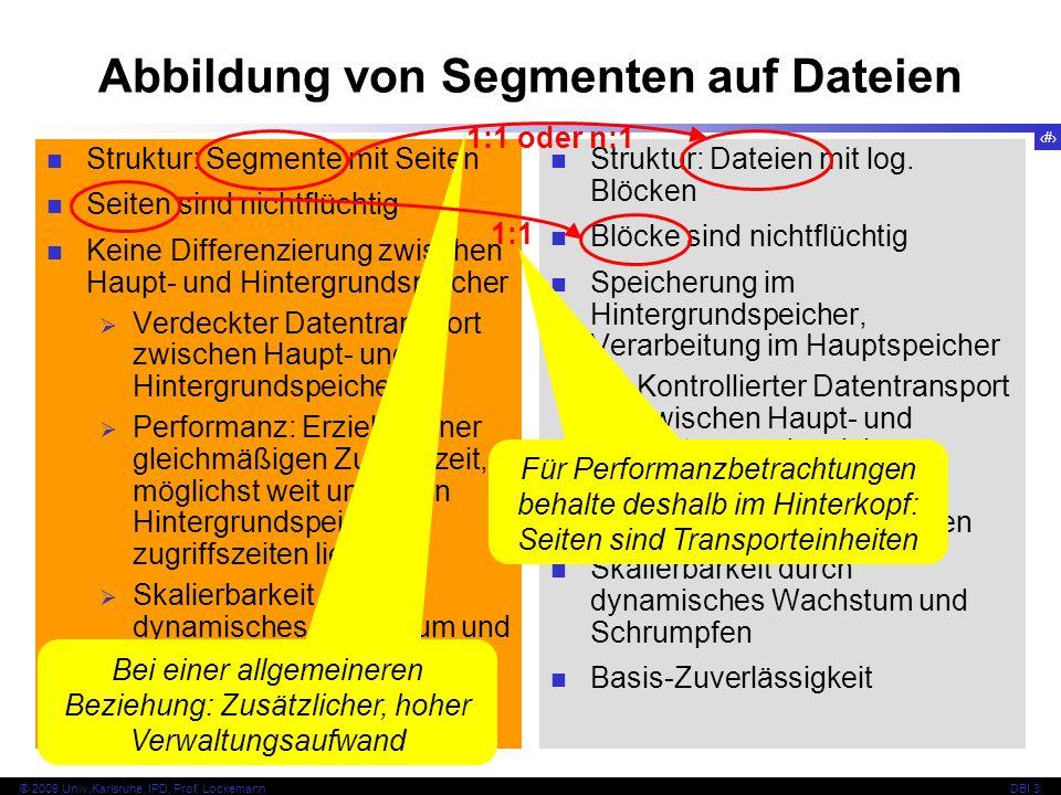 7 © 2009 Univ,Karlsruhe, IPD, Prof. LockemannDBI 3 Abbildung von Segmenten auf Dateien Struktur: Segmente mit Seiten Seiten sind nichtflüchtig Keine D
