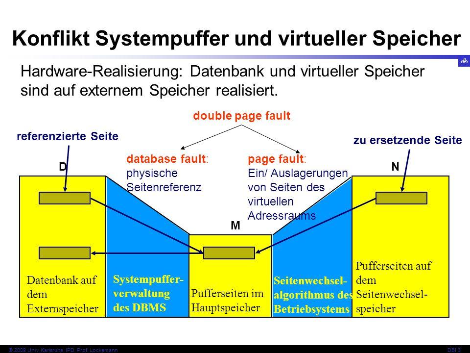 76 © 2009 Univ,Karlsruhe, IPD, Prof. LockemannDBI 3 Hardware-Realisierung: Datenbank und virtueller Speicher sind auf externem Speicher realisiert. M