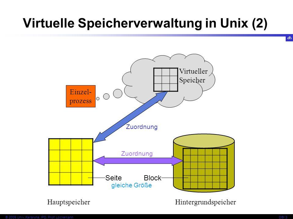 80 © 2009 Univ,Karlsruhe, IPD, Prof. LockemannDBI 3 Virtuelle Speicherverwaltung in Unix (2) Einzel- prozess Virtueller Speicher HauptspeicherHintergr