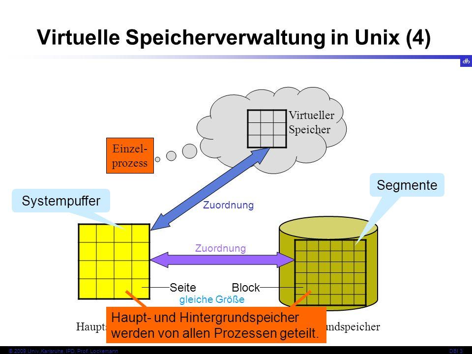 82 © 2009 Univ,Karlsruhe, IPD, Prof. LockemannDBI 3 Virtuelle Speicherverwaltung in Unix (4) Einzel- prozess Virtueller Speicher HauptspeicherHintergr