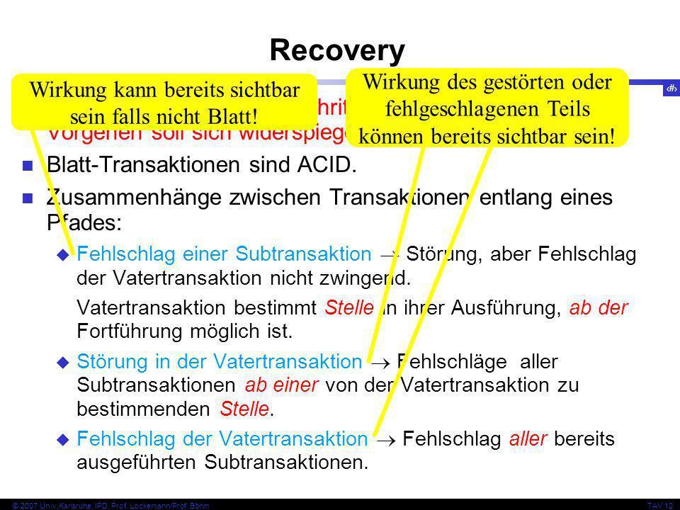 23 © 2007 Univ,Karlsruhe, IPD, Prof. Lockemann/Prof. BöhmTAV 12 Recovery Differenziertere Recovery: Schrittweises, hierarchisches Vorgehen soll sich w