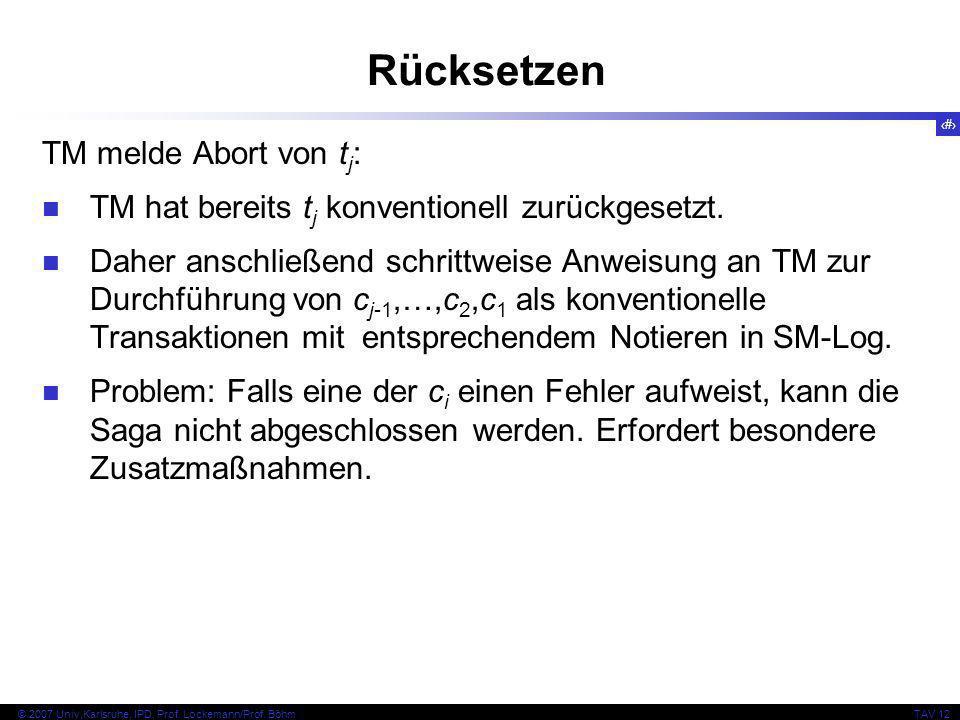 32 © 2007 Univ,Karlsruhe, IPD, Prof. Lockemann/Prof. BöhmTAV 12 Rücksetzen TM melde Abort von t j : TM hat bereits t j konventionell zurückgesetzt. Da