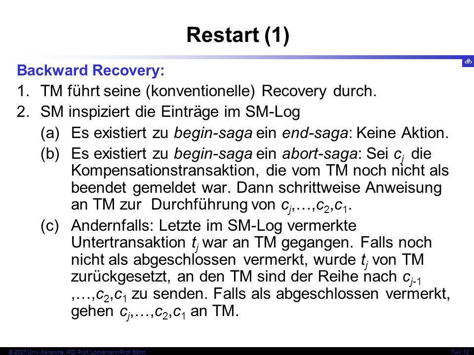 33 © 2007 Univ,Karlsruhe, IPD, Prof. Lockemann/Prof. BöhmTAV 12 Restart (1) Backward Recovery: 1.TM führt seine (konventionelle) Recovery durch. 2.SM