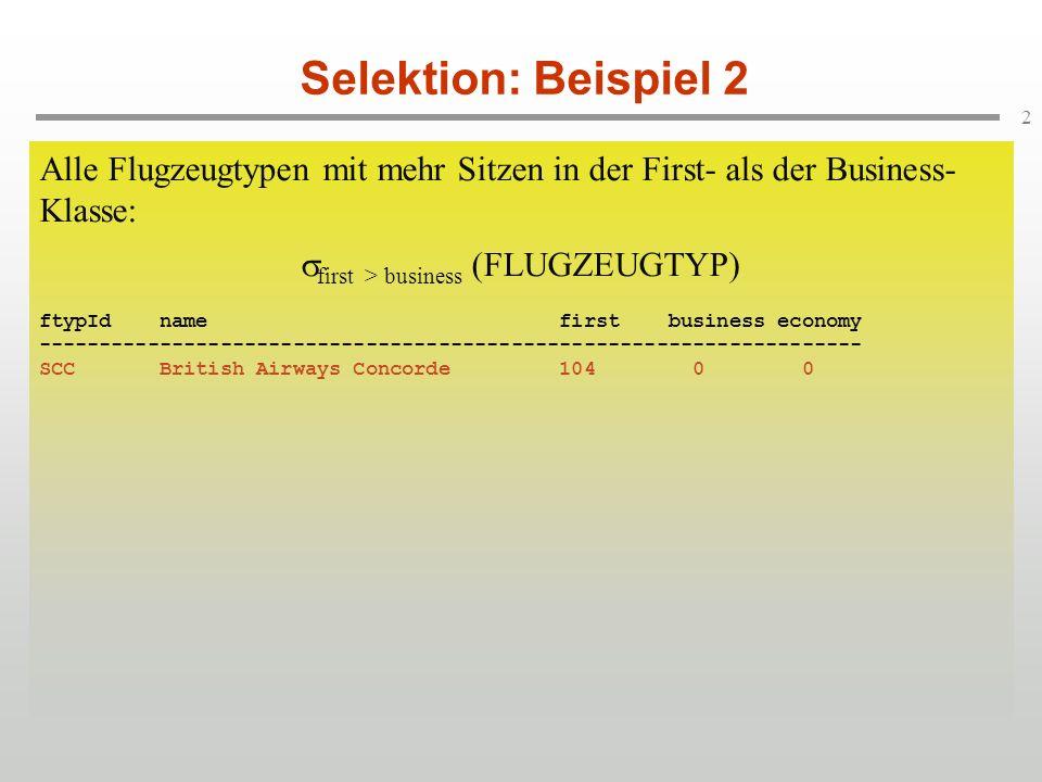 2 Selektion: Beispiel 2 Alle Flugzeugtypen mit mehr Sitzen in der First- als der Business- Klasse: first > business (FLUGZEUGTYP) ftypId name first business economy -------------------------------------------------------------------- 744 Boeing 747-400 22 58 292 747 Boeing 747-200 23 36 326 D10 Boeing DC10 22 45 165 AB6 Airbus A300-600 Continental 10 54 137 319 Airbus_A319 10 42 63 737 Boeing 737 7 35 75 320 Airbus A320 10 62 63 314 Airbus A310-600 Continental 0 85 137 321 Airbus A321-100 10 45 116 SCC British Airways Concorde 104 0 0 340 Airbus A340 10 48 170 3XX Airbus A3XX-100 24 120 411 Alle Flugzeugtypen mit mehr Sitzen in der First- als der Business- Klasse: first > business (FLUGZEUGTYP) ftypId name first business economy -------------------------------------------------------------------- 744 Boeing 747-400 22 58 292 747 Boeing 747-200 23 36 326 D10 Boeing DC10 22 45 165 AB6 Airbus A300-600 Continental 10 54 137 319 Airbus_A319 10 42 63 737 Boeing 737 7 35 75 320 Airbus A320 10 62 63 314 Airbus A310-600 Continental 0 85 137 321 Airbus A321-100 10 45 116 SCC British Airways Concorde 104 0 0 340 Airbus A340 10 48 170 3XX Airbus A3XX-100 24 120 411 Alle Flugzeugtypen mit mehr Sitzen in der First- als der Business- Klasse: first > business (FLUGZEUGTYP) ftypId name first business economy -------------------------------------------------------------------- SCC British Airways Concorde 104 0 0