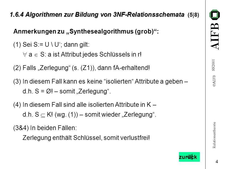 Relationentheorie AIFB SS2001 5 1.6.4 Algorithmen zur Bildung von 3NF-Relationsschemata 1.6.4 Algorithmen zur Bildung von 3NF-Relationsschemata (6|8) [A] Wandle F um zu H mit H ~ F und H möglichst einfach : 1.
