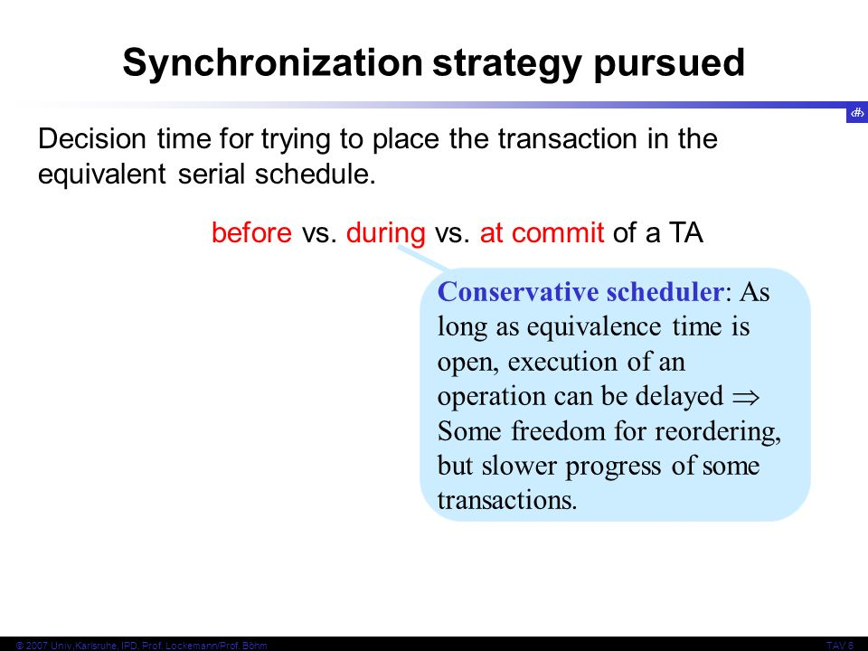 11 © 2007 Univ,Karlsruhe, IPD, Prof. Lockemann/Prof. BöhmTAV 6 Synchronization strategy pursued Decision time for trying to place the transaction in t