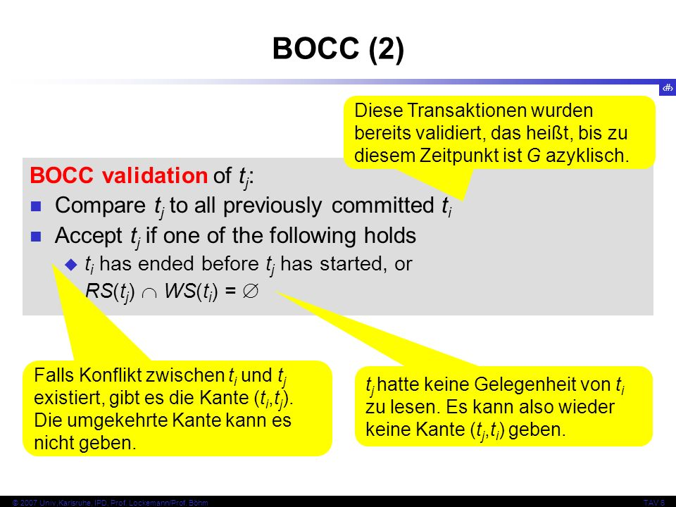 133 © 2007 Univ,Karlsruhe, IPD, Prof. Lockemann/Prof. BöhmTAV 6 BOCC (2) BOCC validation of t j : Compare t j to all previously committed t i Accept t