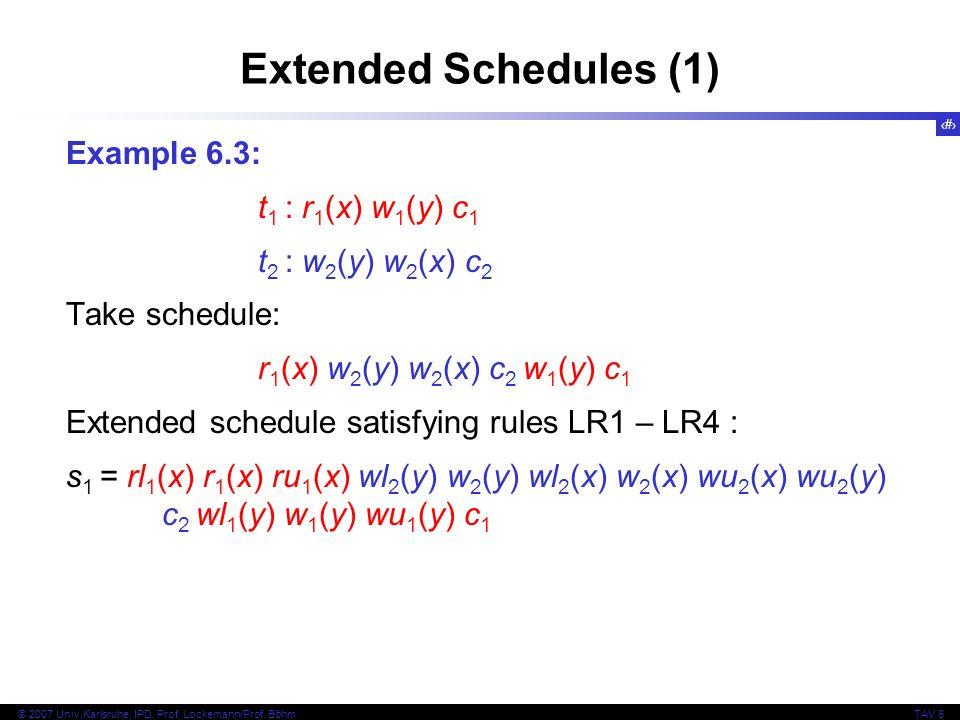 18 © 2007 Univ,Karlsruhe, IPD, Prof. Lockemann/Prof. BöhmTAV 6 Example 6.3: t 1 : r 1 (x) w 1 (y) c 1 t 2 : w 2 (y) w 2 (x) c 2 Take schedule: r 1 (x)