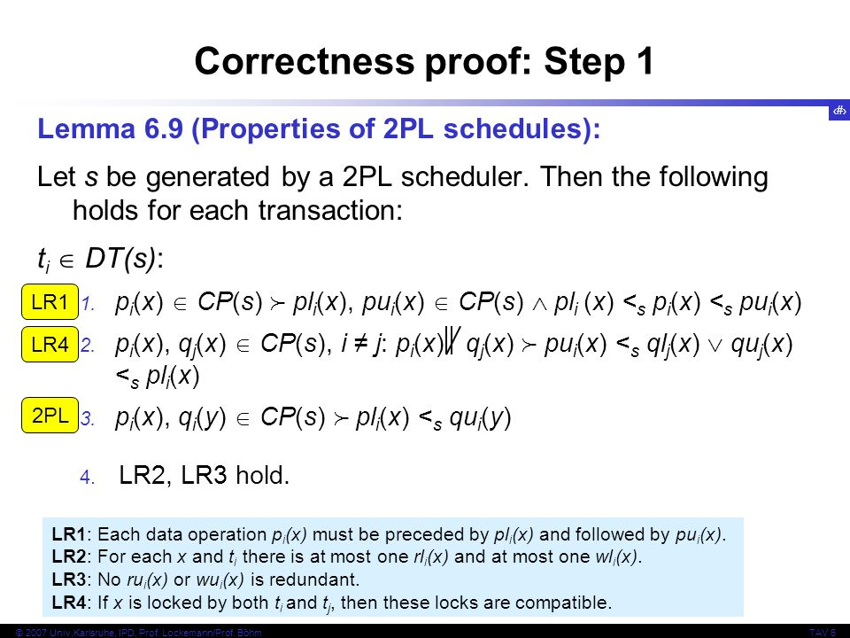 25 © 2007 Univ,Karlsruhe, IPD, Prof. Lockemann/Prof. BöhmTAV 6 LR1: Each data operation p i (x) must be preceded by pl i (x) and followed by pu i (x).