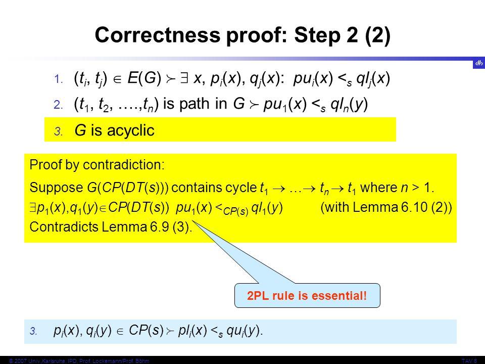 29 © 2007 Univ,Karlsruhe, IPD, Prof. Lockemann/Prof. BöhmTAV 6 Correctness proof: Step 2 (2) 1. (t i, t j ) E(G) x, p i (x), q j (x): pu i (x) < s ql