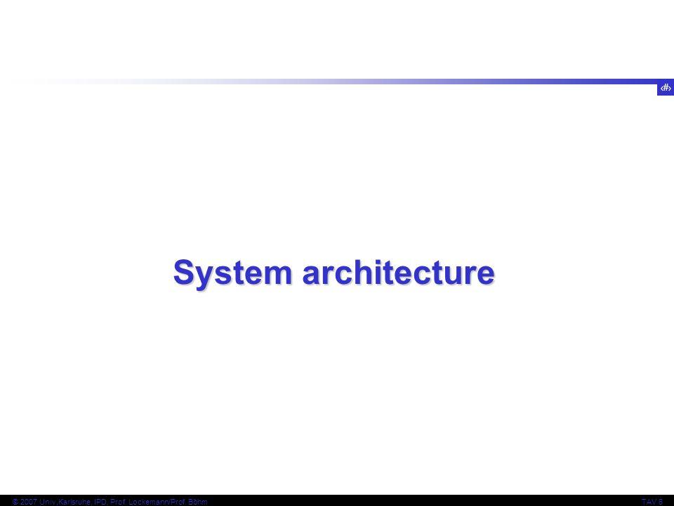 3 © 2007 Univ,Karlsruhe, IPD, Prof. Lockemann/Prof. BöhmTAV 6 System architecture