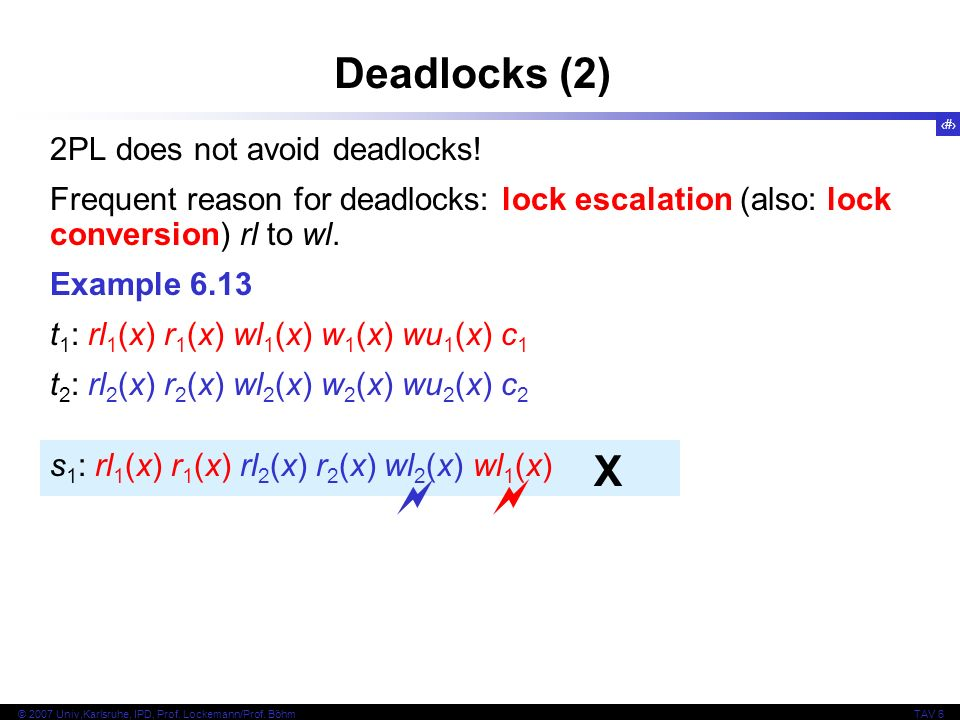 34 © 2007 Univ,Karlsruhe, IPD, Prof. Lockemann/Prof. BöhmTAV 6 Deadlocks (2) 2PL does not avoid deadlocks! Frequent reason for deadlocks: lock escalat