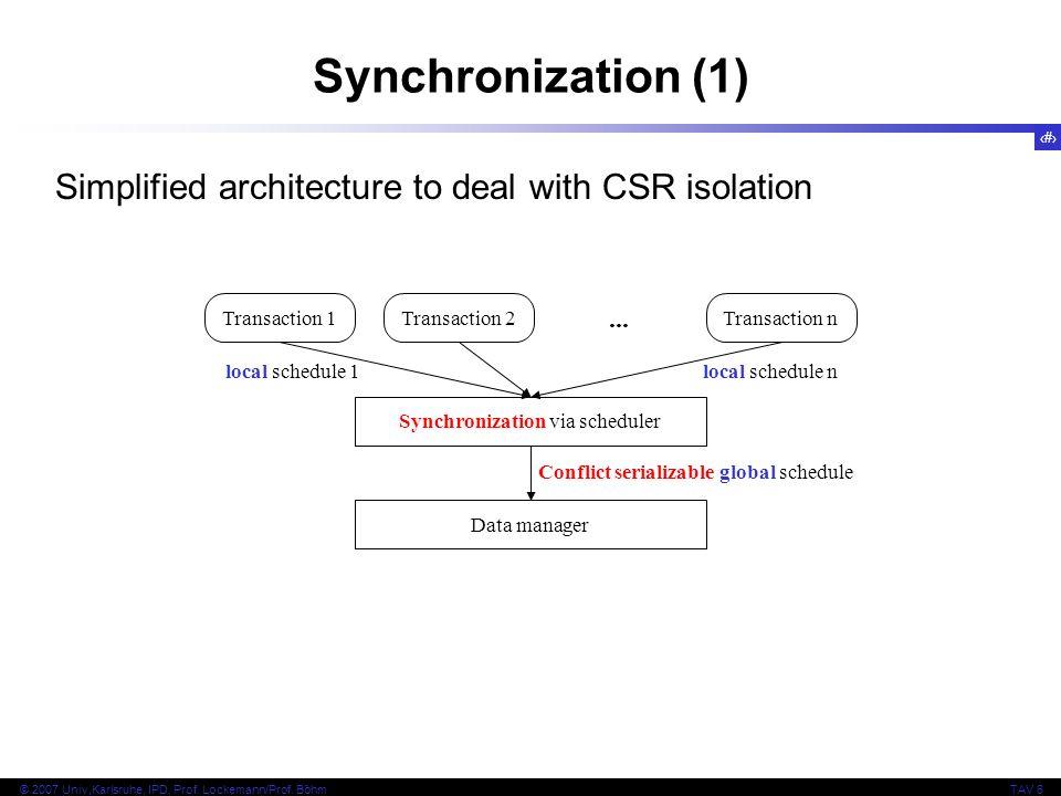 4 © 2007 Univ,Karlsruhe, IPD, Prof. Lockemann/Prof. BöhmTAV 6 Transaction 1Transaction 2... Transaction n Synchronization via scheduler Data manager l