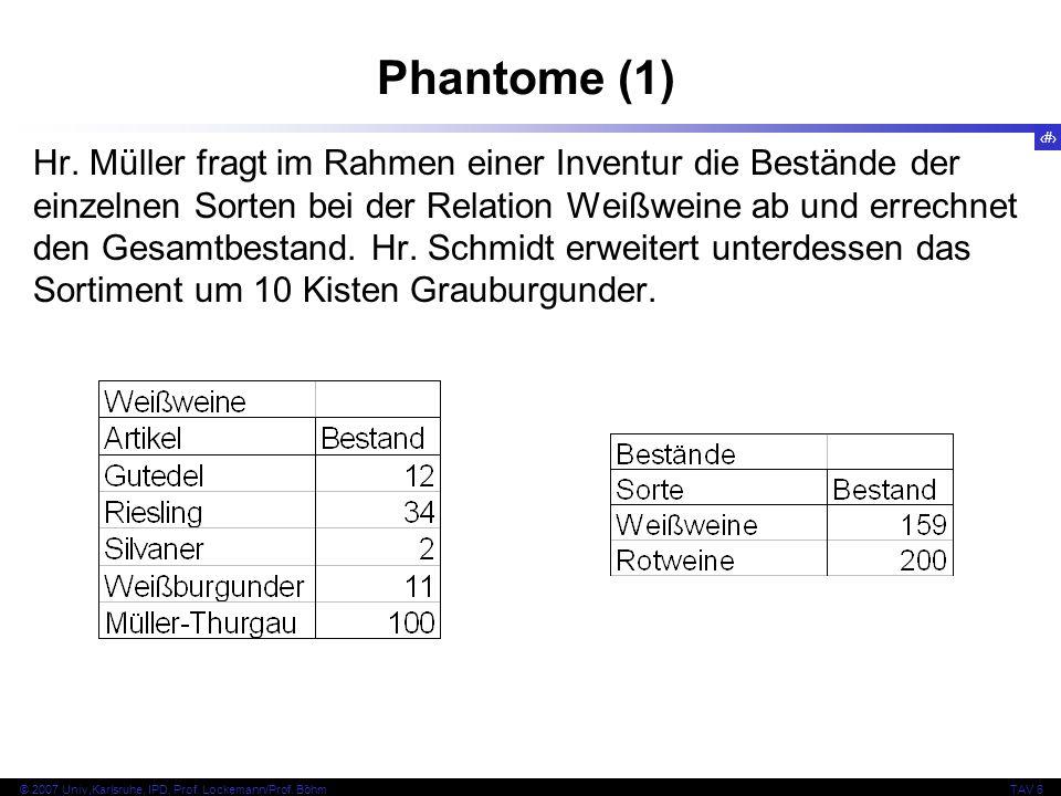 51 © 2007 Univ,Karlsruhe, IPD, Prof. Lockemann/Prof. BöhmTAV 6 Phantome (1) Hr. Müller fragt im Rahmen einer Inventur die Bestände der einzelnen Sorte