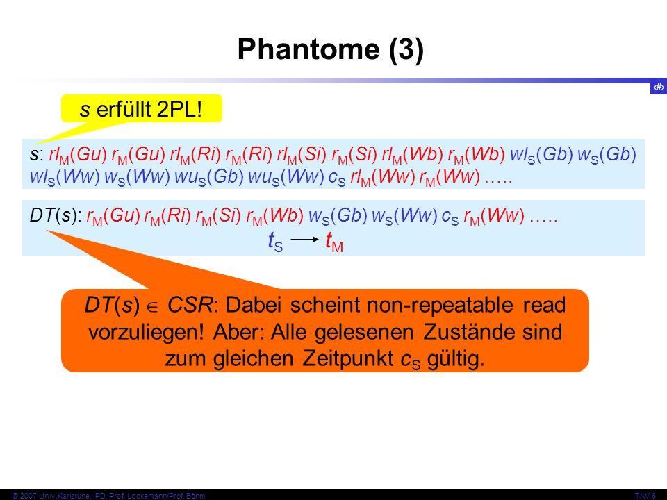 53 © 2007 Univ,Karlsruhe, IPD, Prof. Lockemann/Prof. BöhmTAV 6 Phantome (3) s: rl M (Gu) r M (Gu) rl M (Ri) r M (Ri) rl M (Si) r M (Si) rl M (Wb) r M