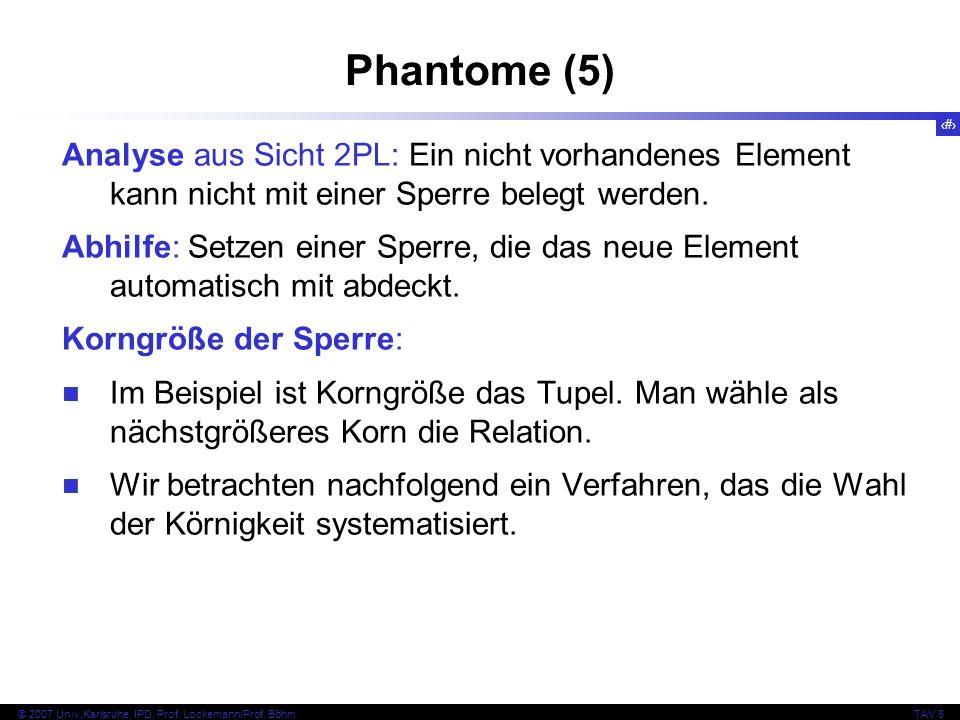 55 © 2007 Univ,Karlsruhe, IPD, Prof. Lockemann/Prof. BöhmTAV 6 Phantome (5) Analyse aus Sicht 2PL: Ein nicht vorhandenes Element kann nicht mit einer