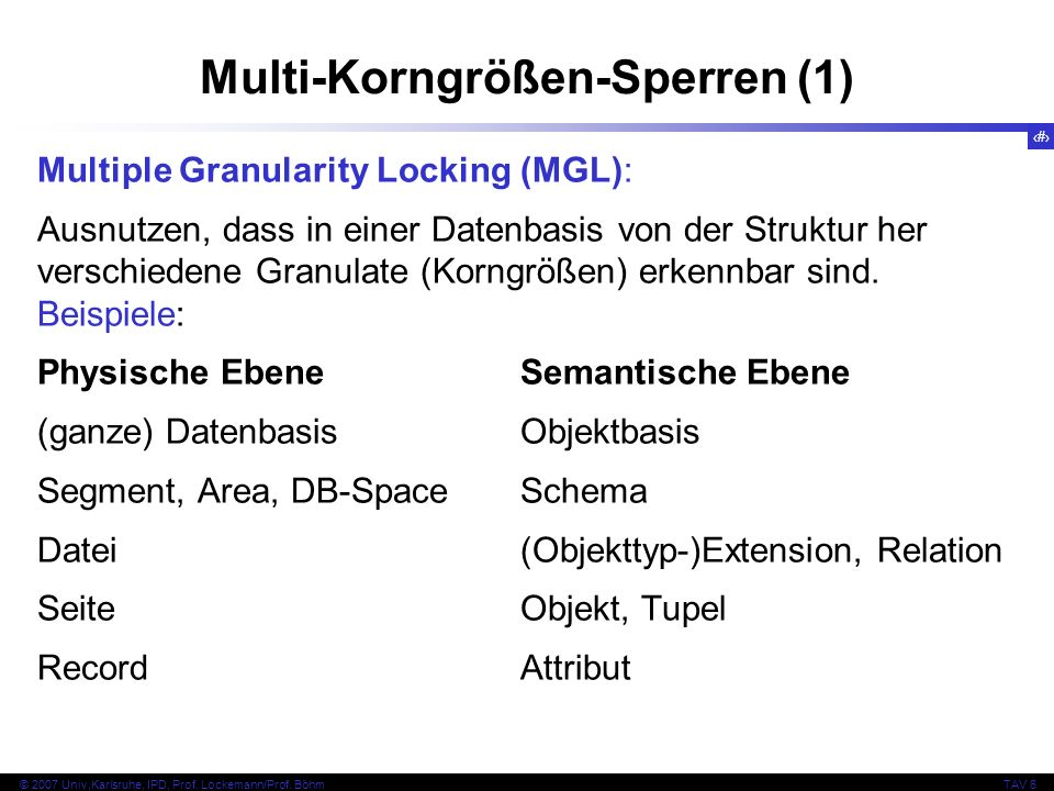 56 © 2007 Univ,Karlsruhe, IPD, Prof. Lockemann/Prof. BöhmTAV 6 Multi-Korngrößen-Sperren (1) Multiple Granularity Locking (MGL): Ausnutzen, dass in ein
