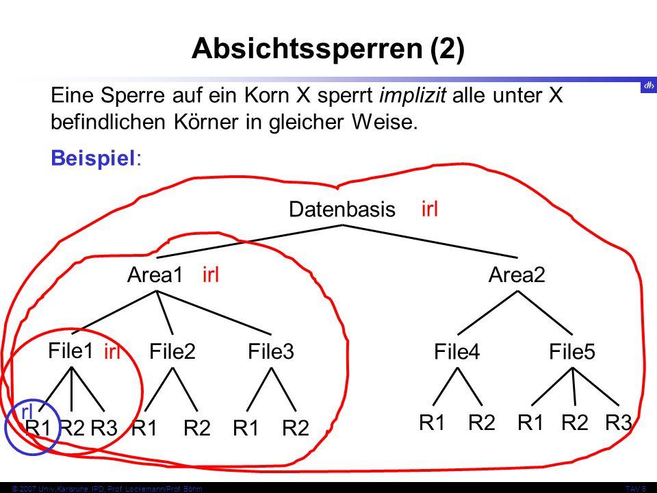 60 © 2007 Univ,Karlsruhe, IPD, Prof. Lockemann/Prof. BöhmTAV 6 Absichtssperren (2) Eine Sperre auf ein Korn X sperrt implizit alle unter X befindliche