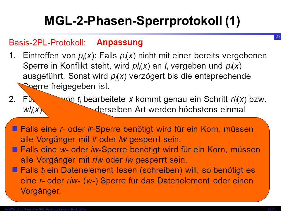 61 © 2007 Univ,Karlsruhe, IPD, Prof. Lockemann/Prof. BöhmTAV 6 MGL-2-Phasen-Sperrprotokoll (1) Basis-2PL-Protokoll: 1.Eintreffen von p i (x): Falls p