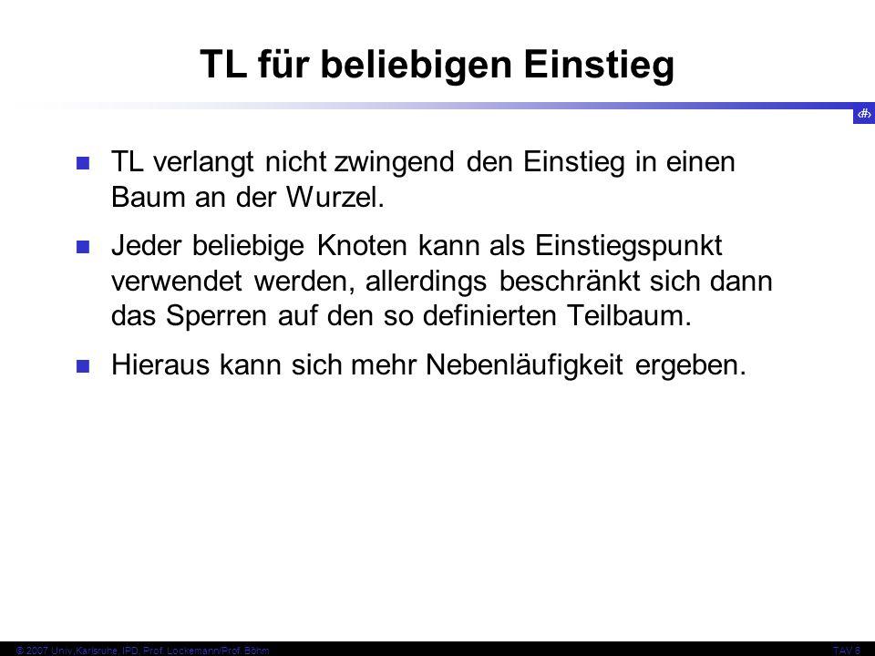 87 © 2007 Univ,Karlsruhe, IPD, Prof. Lockemann/Prof. BöhmTAV 6 TL für beliebigen Einstieg TL verlangt nicht zwingend den Einstieg in einen Baum an der