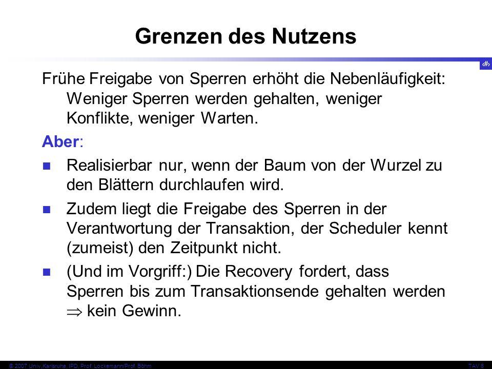 89 © 2007 Univ,Karlsruhe, IPD, Prof. Lockemann/Prof. BöhmTAV 6 Grenzen des Nutzens Frühe Freigabe von Sperren erhöht die Nebenläufigkeit: Weniger Sper