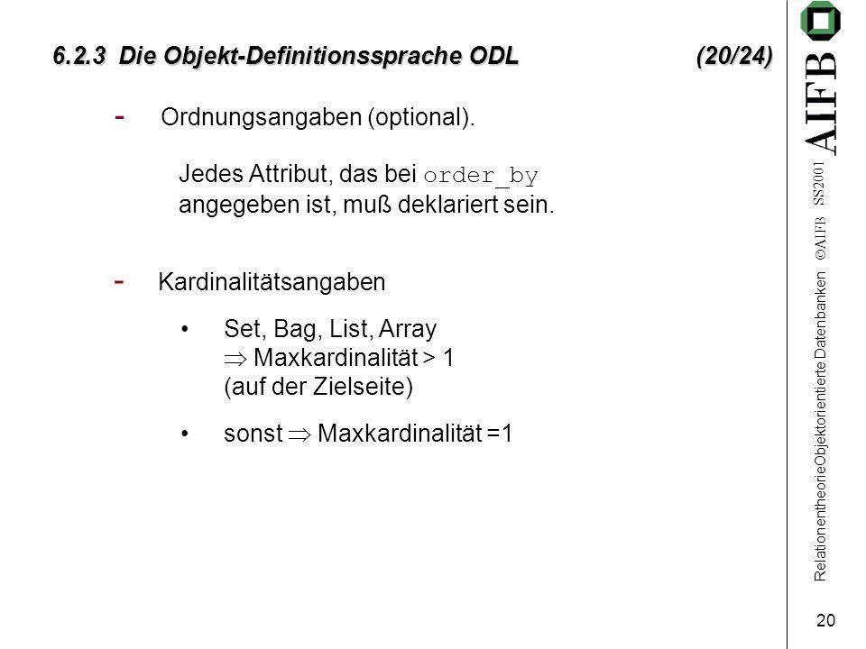 RelationentheorieObjektorientierte Datenbanken AIFB SS2001 21 6.2.3 Die Objekt-Definitionssprache ODL (21/24) op_dcl Operationsdeklaration simple_type_specidentifier onewayvoid param_dcl scoped_name string_literal ( ( ( ) ) ),,, raises context