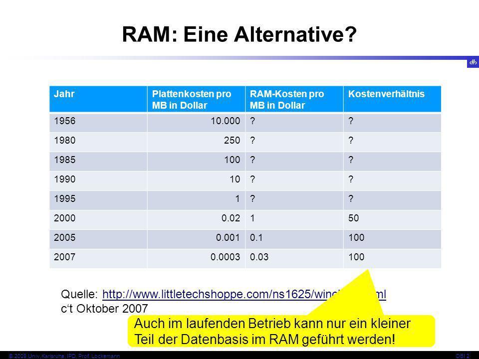 11 © 2009 Univ,Karlsruhe, IPD, Prof. LockemannDBI 2 RAM: Eine Alternative? JahrPlattenkosten pro MB in Dollar RAM-Kosten pro MB in Dollar Kostenverhäl