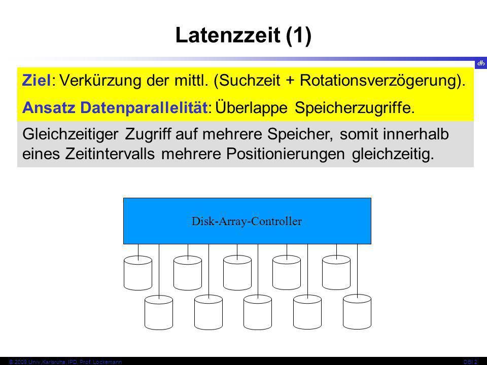 14 © 2009 Univ,Karlsruhe, IPD, Prof. LockemannDBI 2 Latenzzeit (1) Gleichzeitiger Zugriff auf mehrere Speicher, somit innerhalb eines Zeitintervalls m