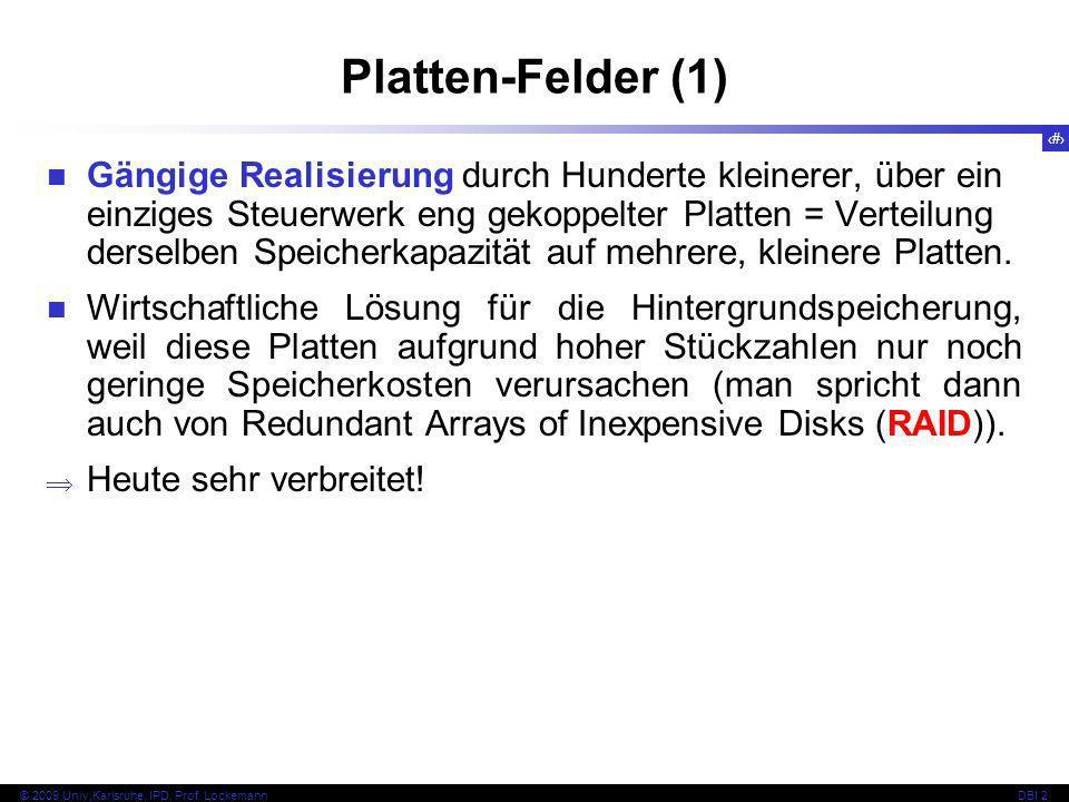 16 © 2009 Univ,Karlsruhe, IPD, Prof. LockemannDBI 2 Platten-Felder (1) Gängige Realisierung durch Hunderte kleinerer, über ein einziges Steuerwerk eng