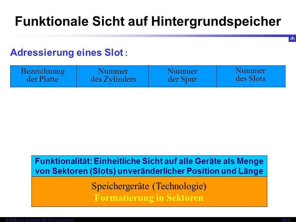 22 © 2009 Univ,Karlsruhe, IPD, Prof. LockemannDBI 2 Funktionale Sicht auf Hintergrundspeicher Adressierung eines Slot : Bezeichnung der Platte Nummer