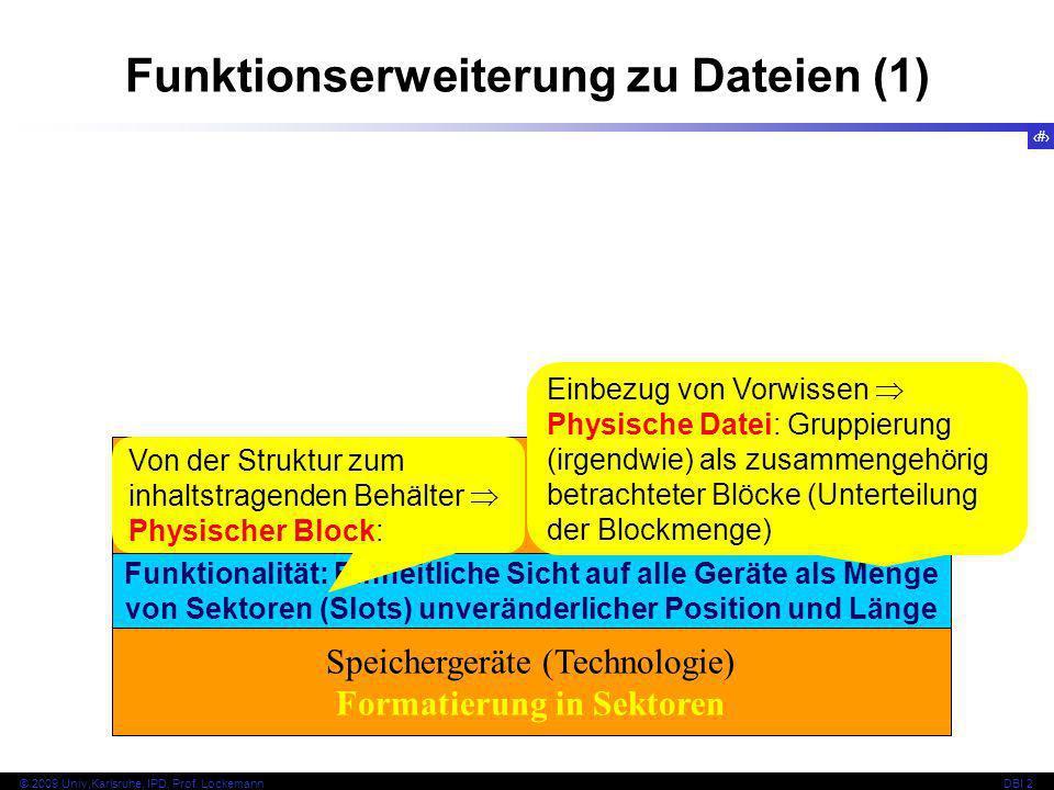23 © 2009 Univ,Karlsruhe, IPD, Prof. LockemannDBI 2 Funktionserweiterung zu Dateien (1) Speichergeräte (Technologie) Formatierung in Sektoren Funktion