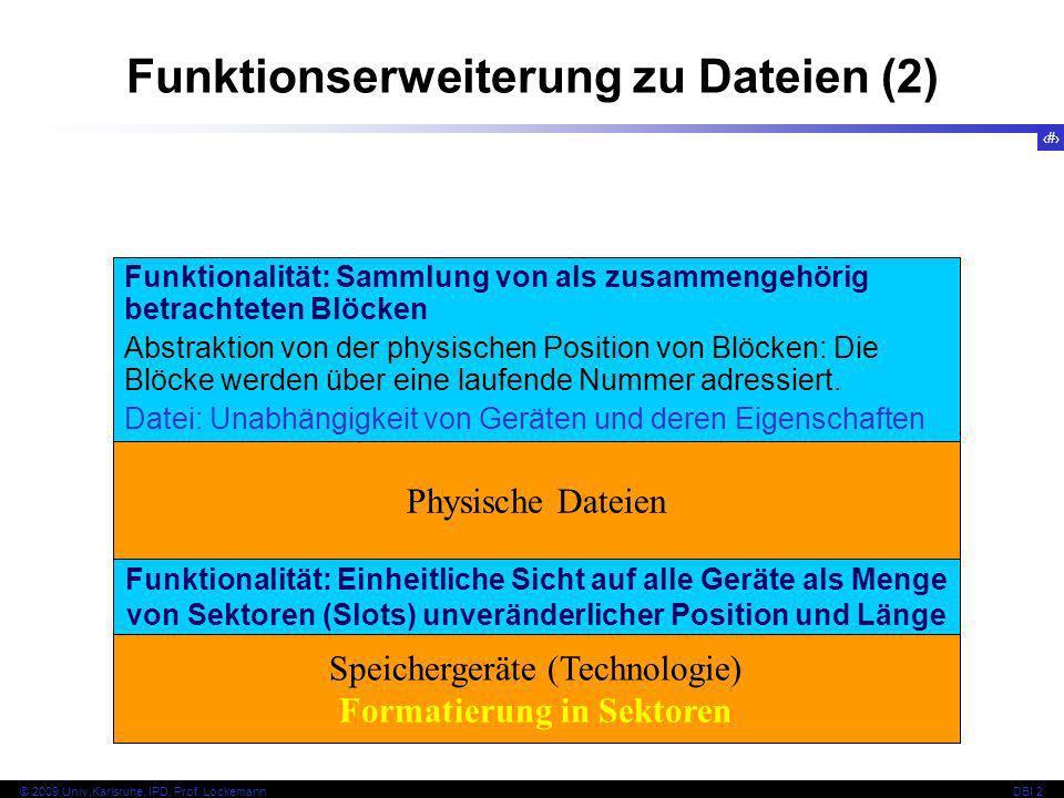 24 © 2009 Univ,Karlsruhe, IPD, Prof. LockemannDBI 2 Funktionserweiterung zu Dateien (2) Physische Dateien Funktionalität: Sammlung von als zusammengeh