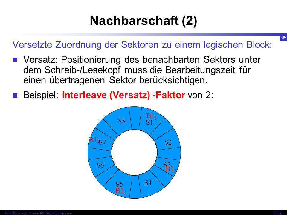 28 © 2009 Univ,Karlsruhe, IPD, Prof. LockemannDBI 2 Nachbarschaft (2) Versetzte Zuordnung der Sektoren zu einem logischen Block: Versatz: Positionieru