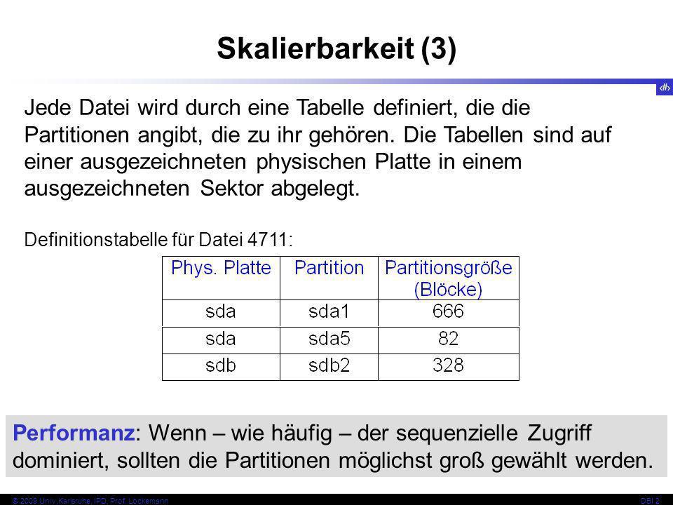 33 © 2009 Univ,Karlsruhe, IPD, Prof. LockemannDBI 2 Skalierbarkeit (3) Jede Datei wird durch eine Tabelle definiert, die die Partitionen angibt, die z