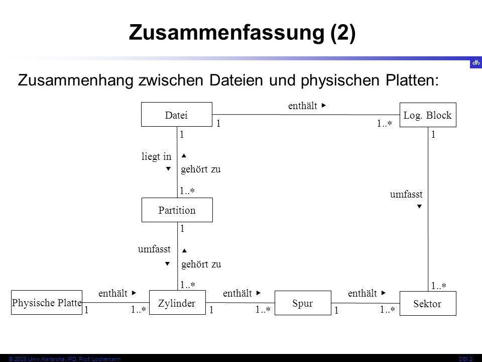 37 © 2009 Univ,Karlsruhe, IPD, Prof. LockemannDBI 2 1 liegt in 1.. Zusammenfassung (2) Zusammenhang zwischen Dateien und physischen Platten: Physische