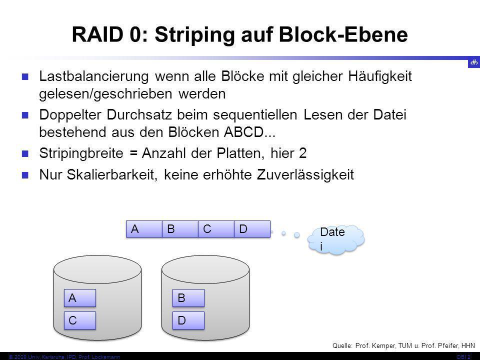 44 © 2009 Univ,Karlsruhe, IPD, Prof. LockemannDBI 2 RAID 0: Striping auf Block-Ebene Lastbalancierung wenn alle Blöcke mit gleicher Häufigkeit gelesen