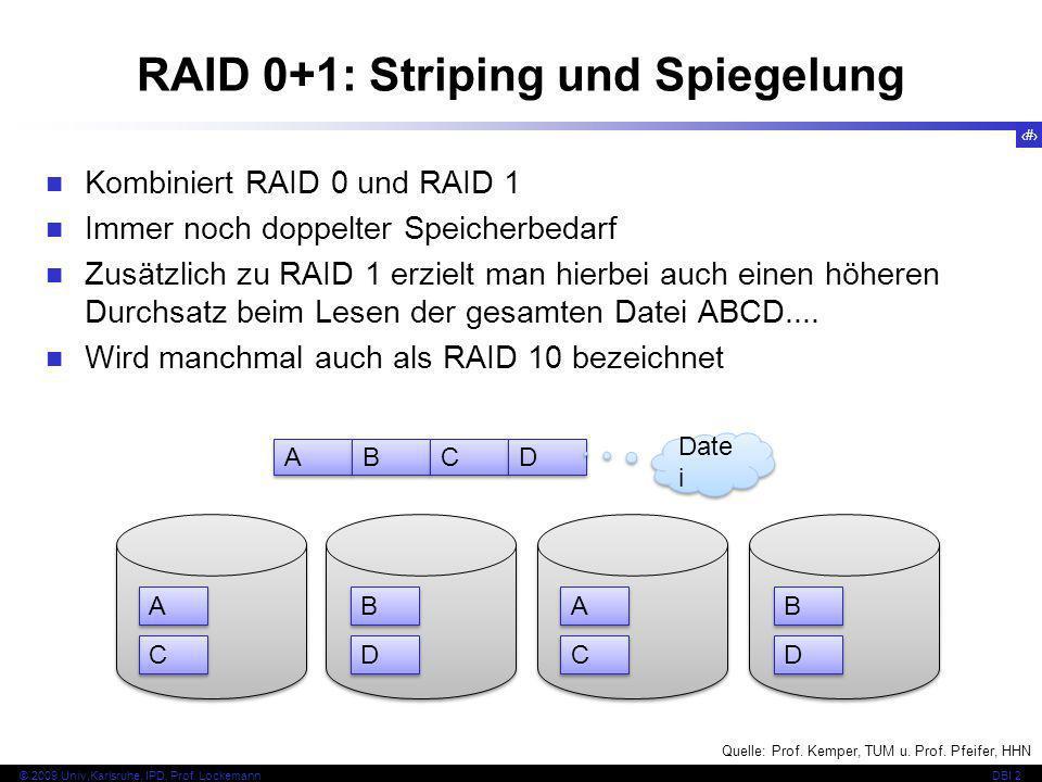 46 © 2009 Univ,Karlsruhe, IPD, Prof. LockemannDBI 2 RAID 0+1: Striping und Spiegelung Kombiniert RAID 0 und RAID 1 Immer noch doppelter Speicherbedarf
