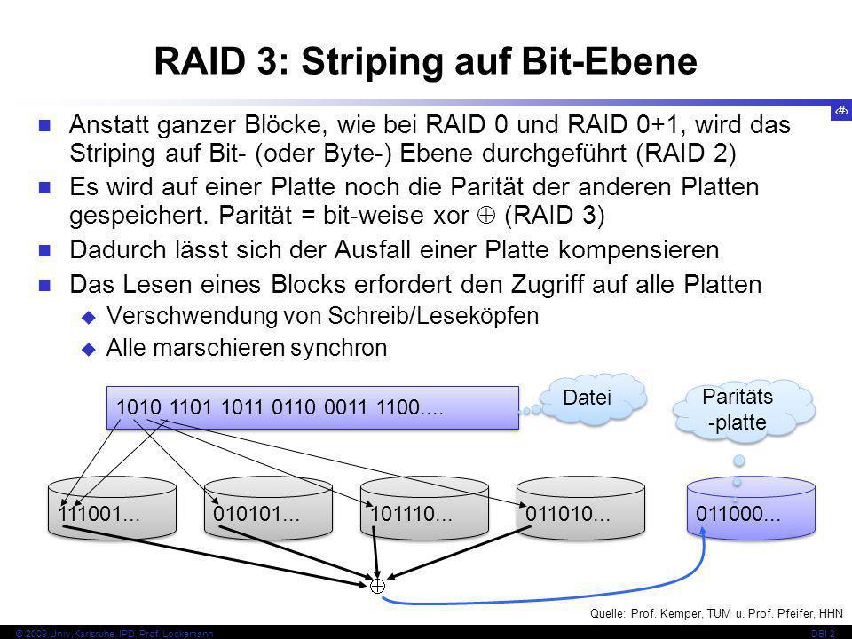 47 © 2009 Univ,Karlsruhe, IPD, Prof. LockemannDBI 2 RAID 3: Striping auf Bit-Ebene Anstatt ganzer Blöcke, wie bei RAID 0 und RAID 0+1, wird das Stripi