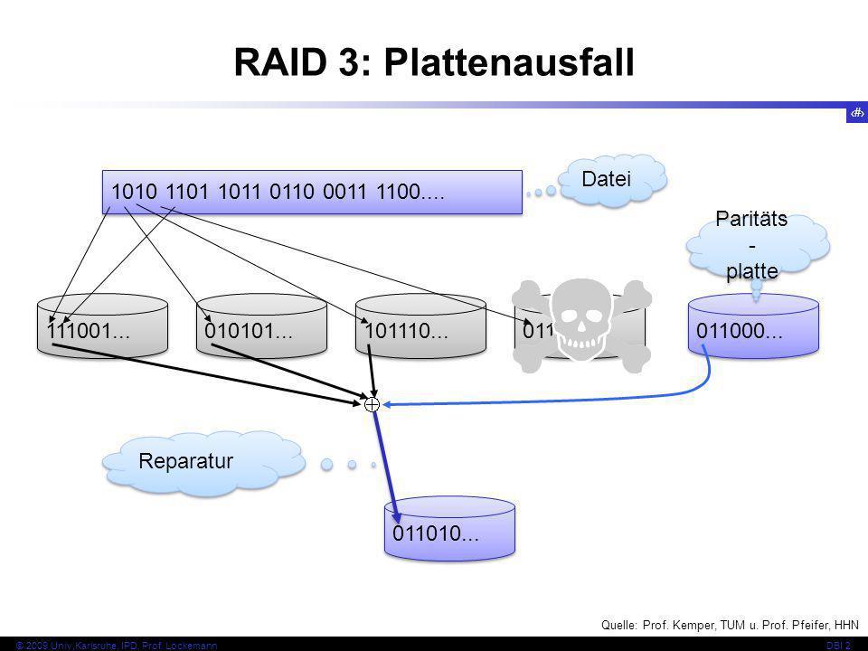 48 © 2009 Univ,Karlsruhe, IPD, Prof. LockemannDBI 2 RAID 3: Plattenausfall 1010 1101 1011 0110 0011 1100.... Datei 111001... 010101... 101110... 01101
