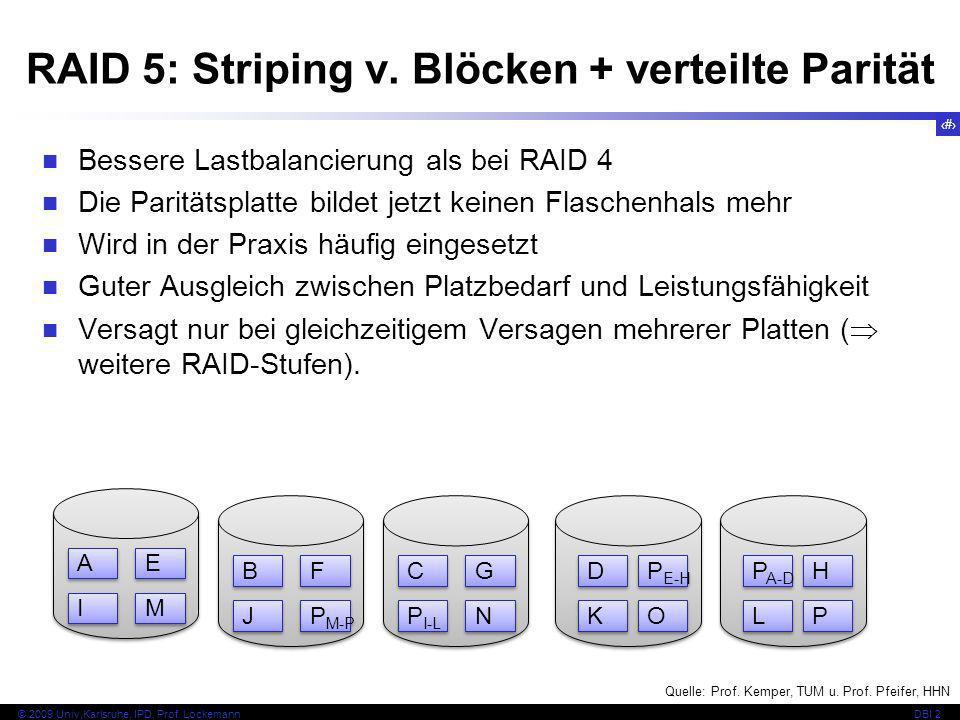 50 © 2009 Univ,Karlsruhe, IPD, Prof. LockemannDBI 2 H H RAID 5: Striping v. Blöcken + verteilte Parität Bessere Lastbalancierung als bei RAID 4 Die Pa
