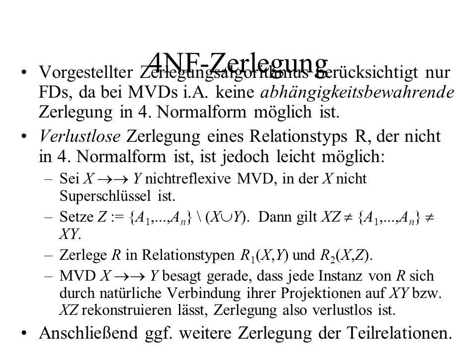 4NF-Zerlegung Vorgestellter Zerlegungsalgorithmus berücksichtigt nur FDs, da bei MVDs i.A. keine abhängigkeitsbewahrende Zerlegung in 4. Normalform mö