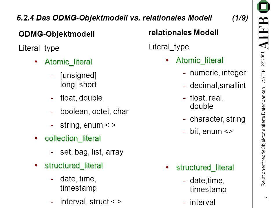 RelationentheorieObjektorientierte Datenbanken AIFB SS2001 2 6.2.4 Das ODMG-Objektmodell vs.
