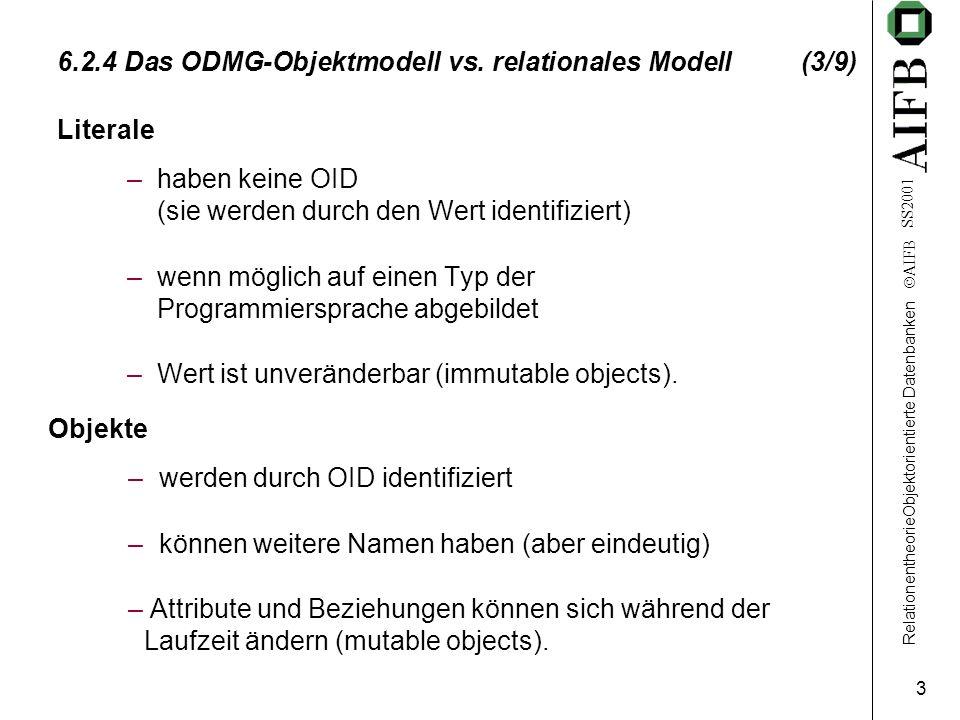 RelationentheorieObjektorientierte Datenbanken AIFB SS2001 3 6.2.4 Das ODMG-Objektmodell vs.