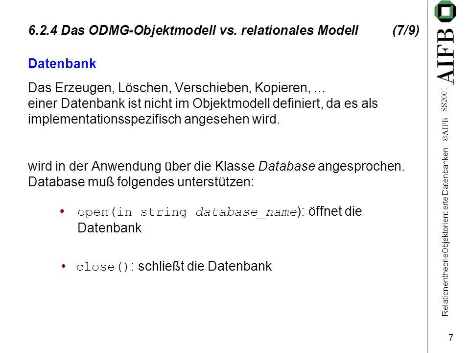 RelationentheorieObjektorientierte Datenbanken AIFB SS2001 7 6.2.4 Das ODMG-Objektmodell vs.
