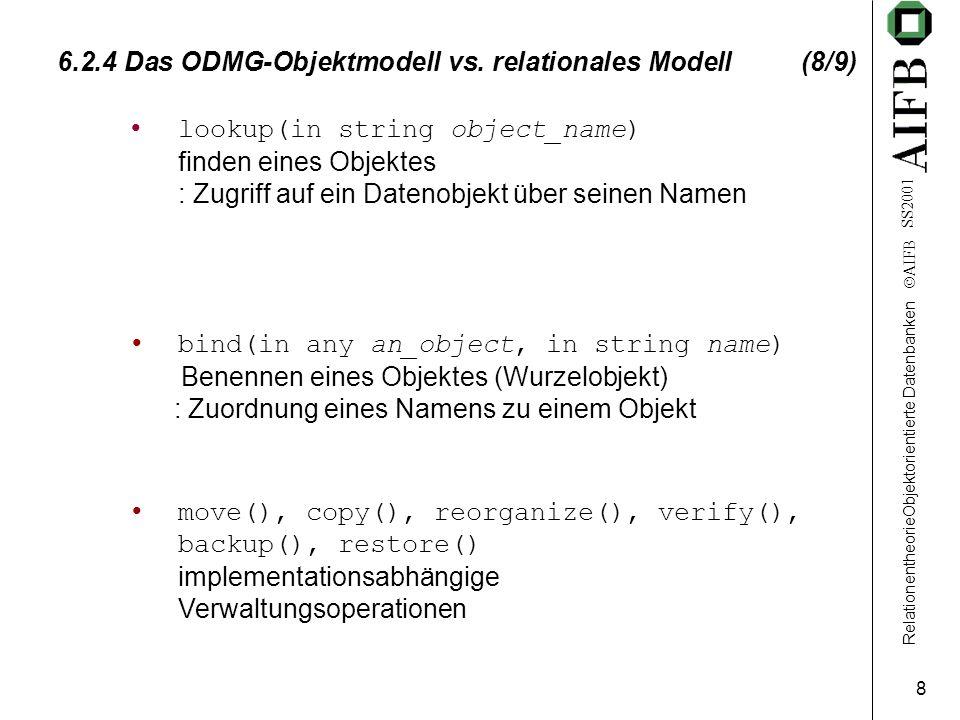 RelationentheorieObjektorientierte Datenbanken AIFB SS2001 8 6.2.4 Das ODMG-Objektmodell vs.